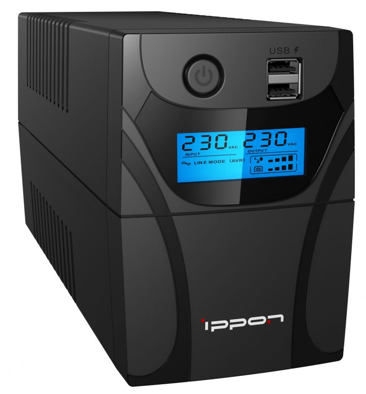 Фото - ИБП Ippon Back Power Pro II Euro 850 черный (1005575) ибп ippon smart power pro ii euro 1200 1200va 720w lcd rs232 rj 45 usb 4 euro