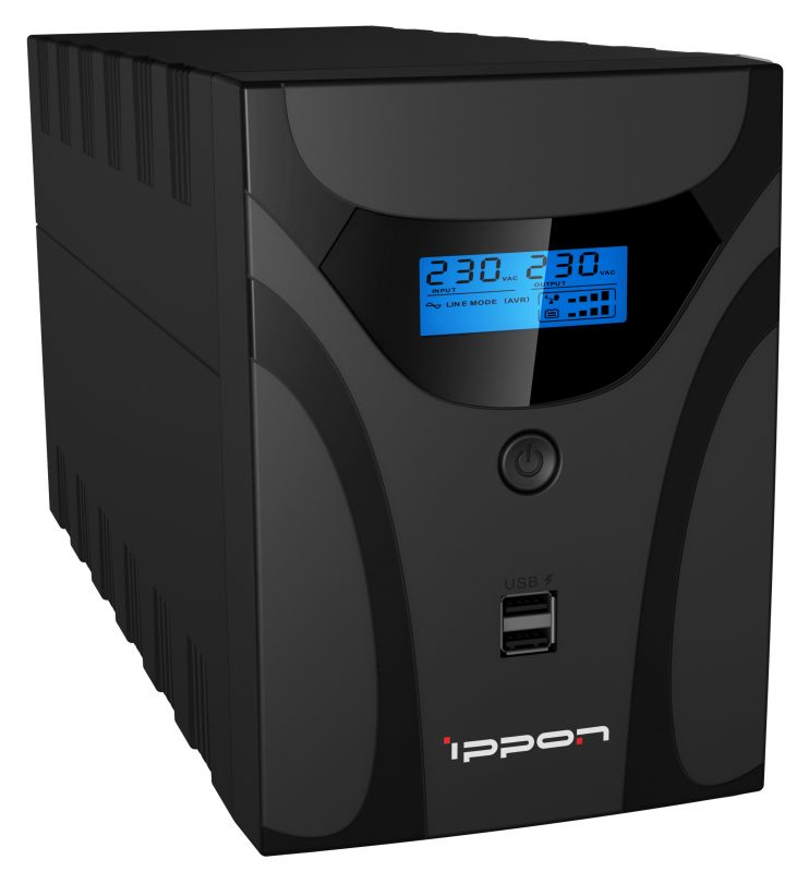 Фото - ИБП Ippon Smart Power Pro II Euro 1200 черный (1029740) ибп ippon smart power pro ii euro 1200 1200va 720w lcd rs232 rj 45 usb 4 euro