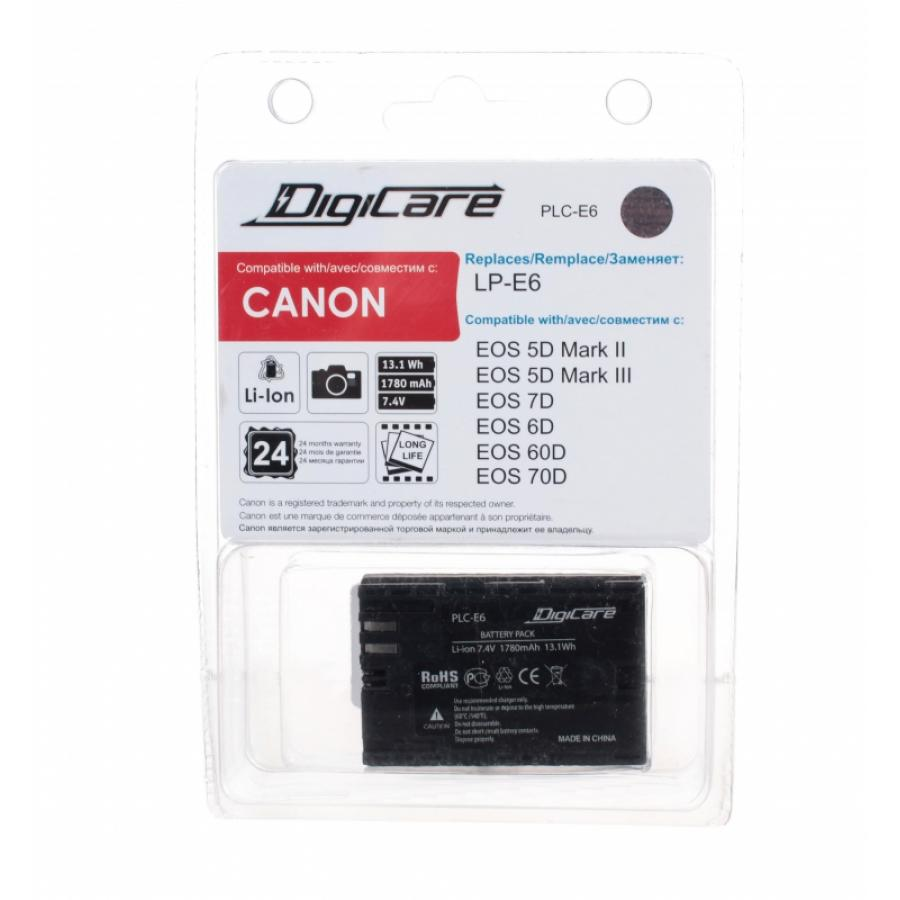 Аккумулятор DigiCare PLC-E6 / LP-E6 / EOS 6D 60D, 7D, 5D mark II, mark III аксессуары для фотостудий for canon canon eos 60d 600d eos rebel t3i eos kiss x 5 for eos 60d eos 600d
