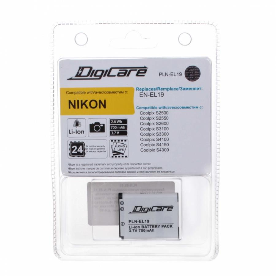 Аккумулятор DigiCare PLN-EL19 / EN-EL19 для CoolPix S6400, S2500, S2550, S2600, S3300, S4300, S4150 аккумулятор digicare pln el19 en el19 для coolpix s6400 s2500 s2550 s2600 s3300 s4300 s4150
