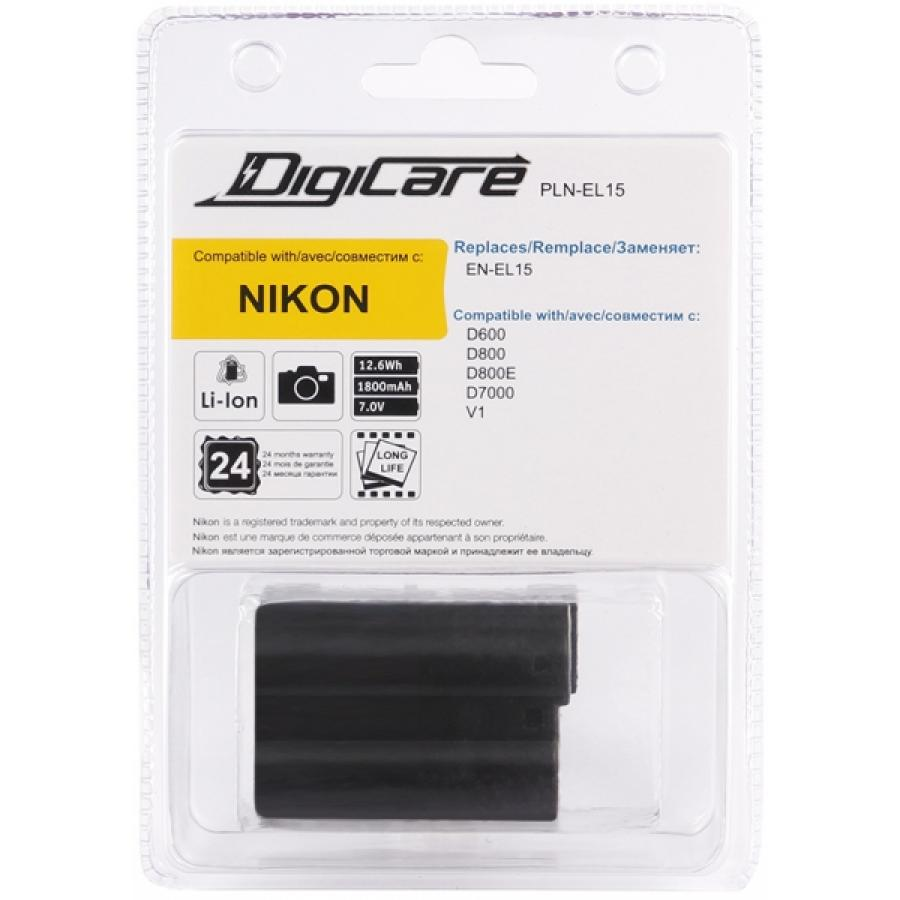 Аккумулятор DigiCare PLN-EL15 / EN-EL15 для D600, D800, D800E, D7000, D7100, Nikon 1 V1 dste multi power shutter battery grip for nikon d7100 mb d15 slr camera