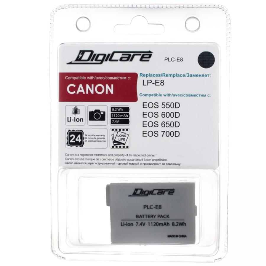 Аккумулятор DigiCare PLC-E8 / LP-E8 / EOS 550D, 600D, 650D, 700D аксессуары для фотостудий for canon canon eos 60d 600d eos rebel t3i eos kiss x 5 for eos 60d eos 600d