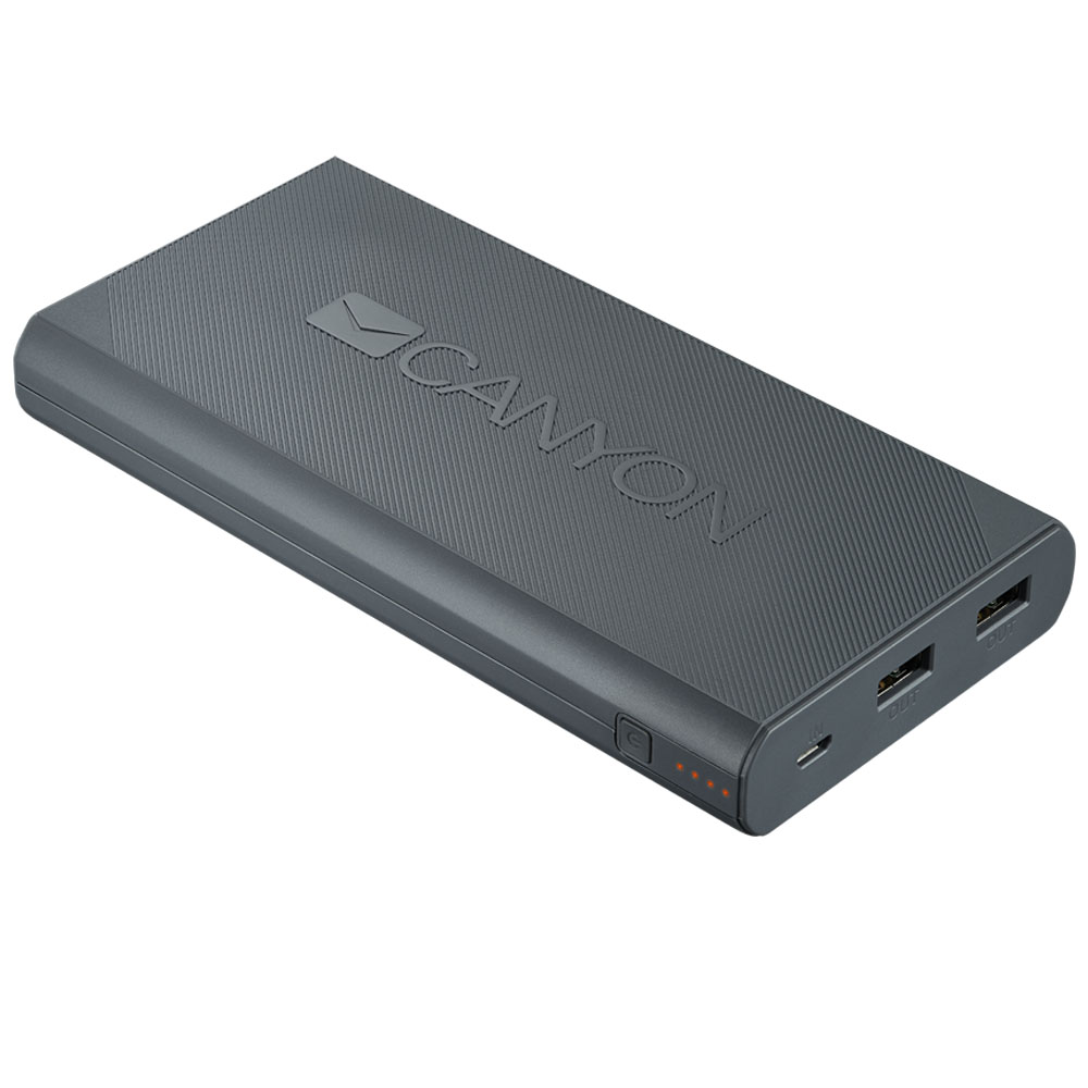 Внешний аккумулятор CANYON Power bank 20000mAh Dark Gray (H2CNECPBF200DG)