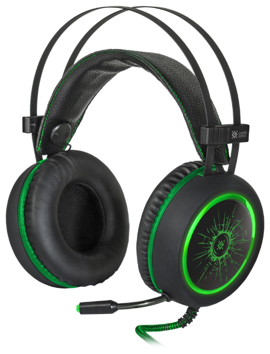 Фото - Наушники Defender DeadFire G-530D Black/Green (64531) колонки defender q3 2 0 black 2x3 вт 50 20000 гц mini jack usb