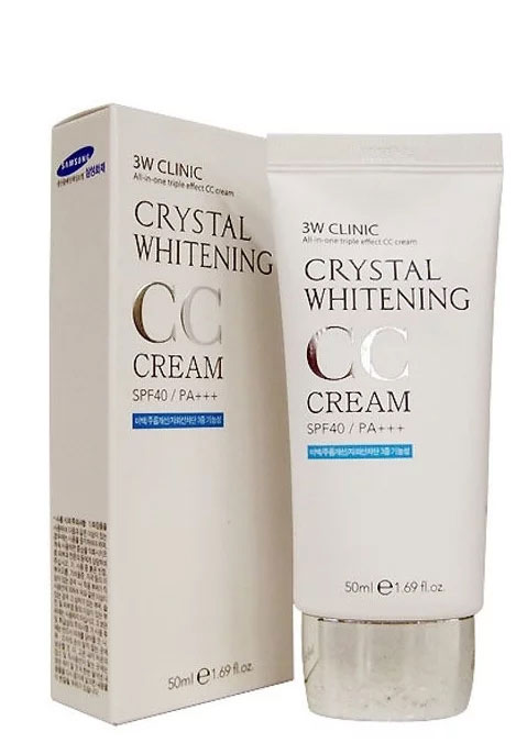 Осветляющий СС крем для лица 3W Clinic Crystal Whitening CC Cream SPF 50 natural beige, 50 мл осветляющий сс крем для лица 3w clinic crystal whitening cc cream spf 50 glitter beige 50 мл