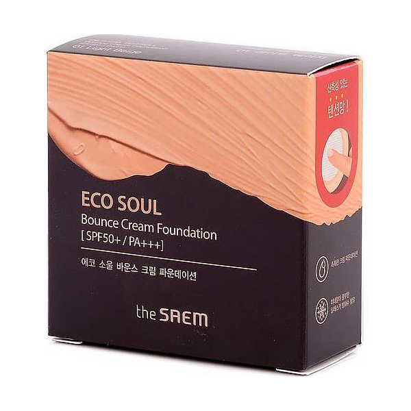 Основа тональная The Saem Eco Soul Bounce Cream Foundation 01 Light Beige 15гр