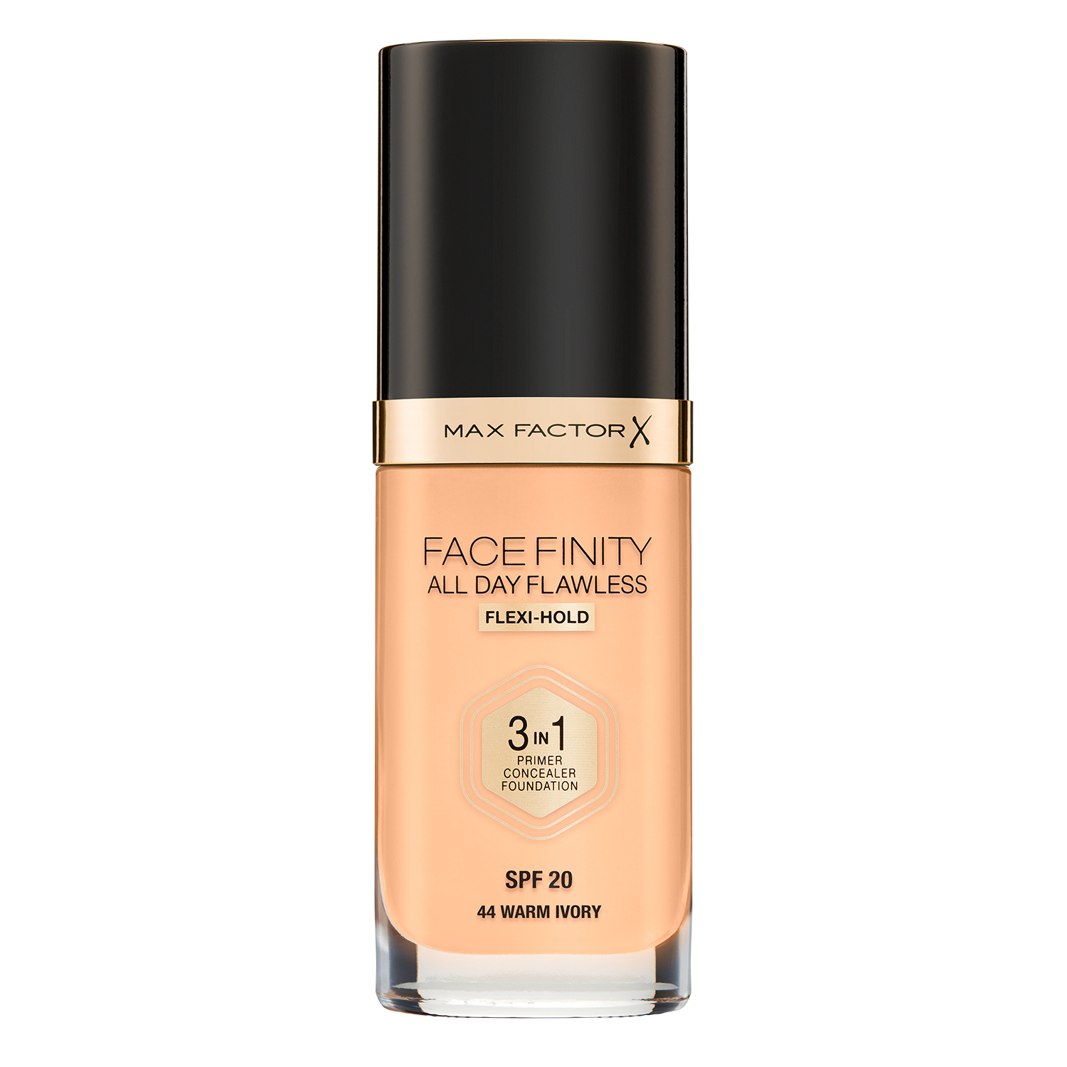 Тональная основа Max Factor Facefinity All Day Flawless 3-in-1, 44 тон warm ivory
