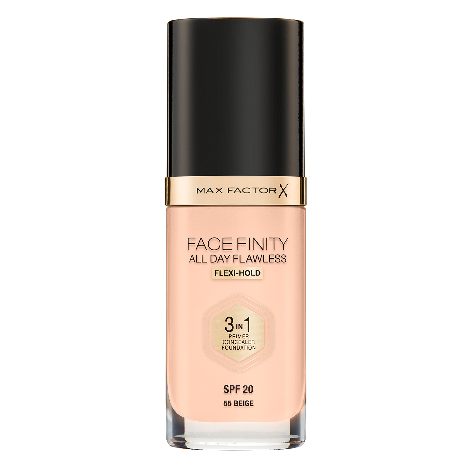Тональная основа Max Factor Facefinity All Day Flawless 3-in-1, 55 тон beige