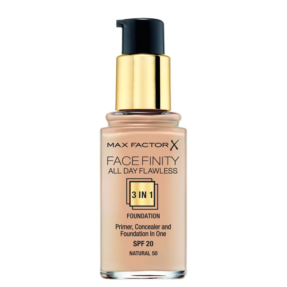 Тональная основа Max Factor Facefinity All Day Flawless 3-in-1, 50 тон natural