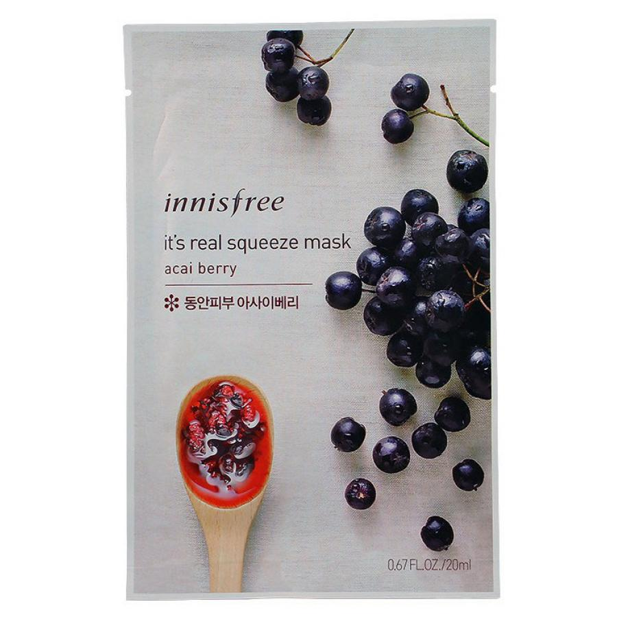Тканевая маска для лица с соком ягод асаи Innisfree My Real Squeeze Mask Acai Berry organic acai berry extract high quality brazil acai berry pow der with factory price