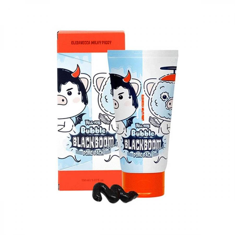 Черная кислородная маска для очищения пор Elizavecca Hell-Pore Bubble Blackboom Pore Pack кислородная маска для лица caolion blackhead o2 bubble pore pack