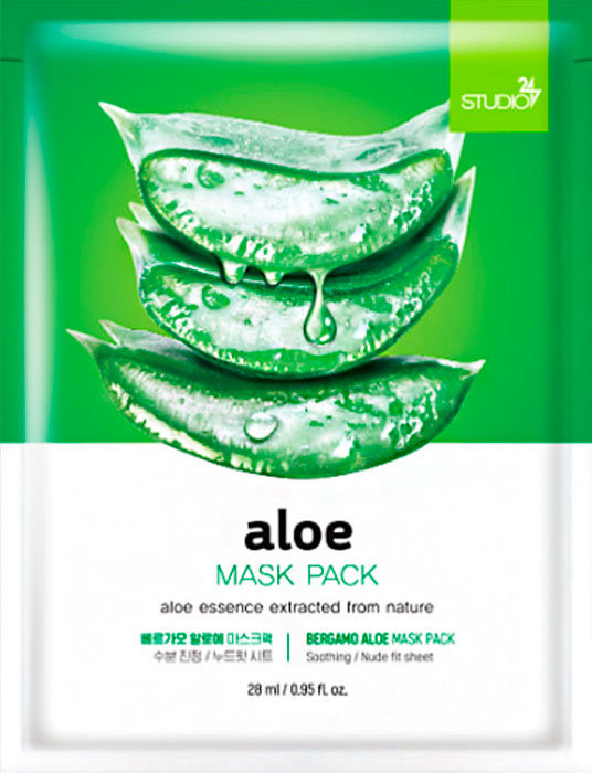 Тканевая маска для лица с экстрактом алоэ BERGAMO Aloe Mask Pack, 28ml ekel aloe ultra hydrating essence mask маска тканевая с экстрактом алоэ вера 25 гр