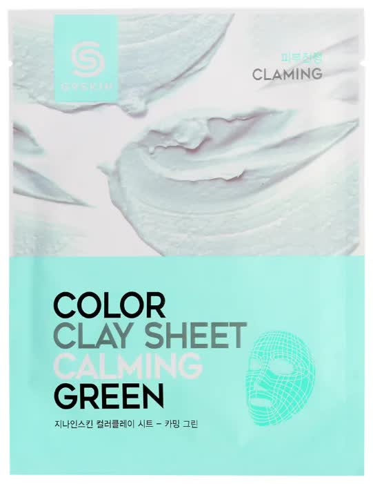 Маска для лица глиняная листовая G9SKIN Color Clay Sheet Calming Green 20гр маска deoproce color synergy effect sheet mask yellow green