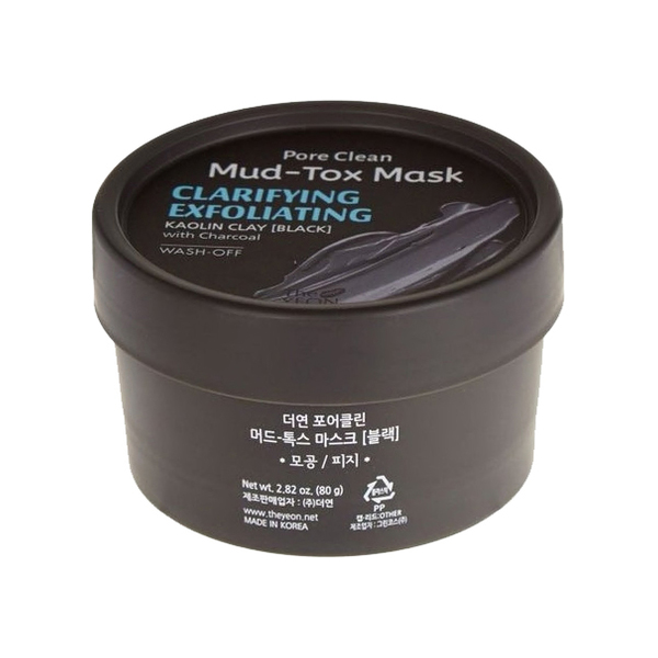 Маска для лица с каолиновой глиной TheYEON Pore Clean Mud-Tox Mask Black 80 г фото