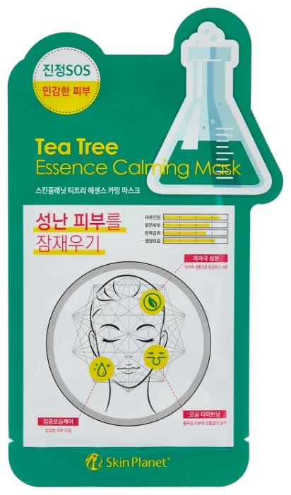 Маска для лица тканевая Mijin Cosmetics Skin Planet Tea Tree Essence Calming Mask 26 г маска тканевая для лица mijin cosmetics platinum essence mask 23 г