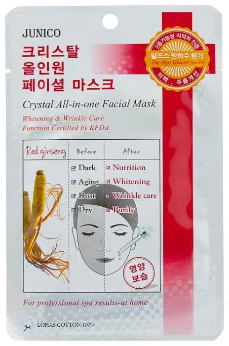 Маска тканевая c красным женьшенем Mijin Cosmetics Junico Crystal All-in-one Facial Mask Red Ginseng 25 г маска тканевая для лица mijin cosmetics junico crystal all in one facial mask snail 25 г