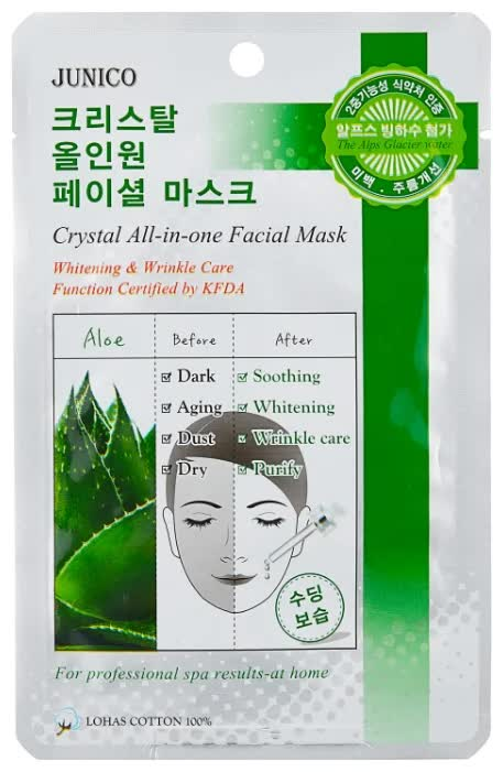 Маска тканевая для лица c алоэ Mijin Cosmetics Junico Crystal All-in-one Facial Mask Aloe 25 г маска тканевая для лица mijin cosmetics junico crystal all in one facial mask snail 25 г