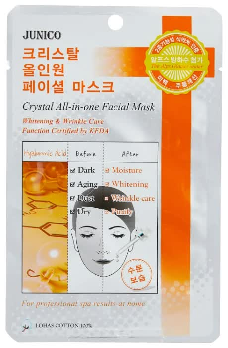 Маска тканевая для лица Mijin Cosmetics Junico Crystal All-in-one Facial Mask Hyaluronic Acid 25 г маска тканевая для лица mijin cosmetics junico crystal all in one facial mask snail 25 г