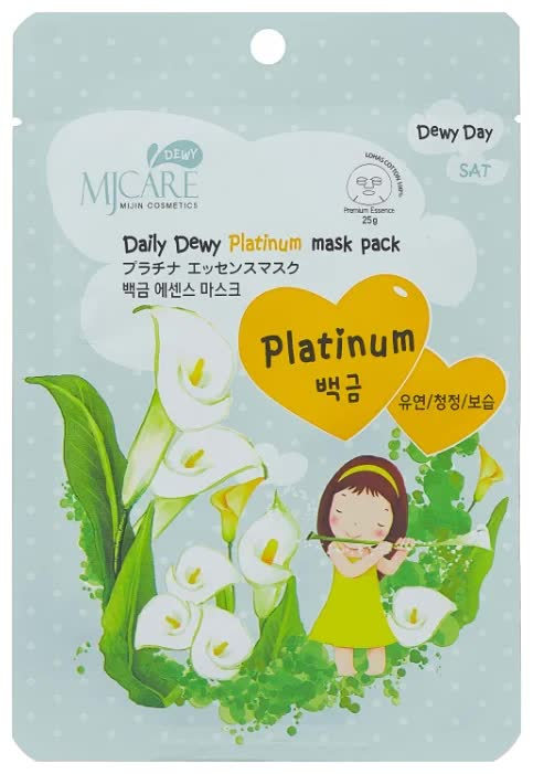 маска тканевая для лица с платиной mijin cosmetics mj care daily dewy platinum mask pack 25 г Маска тканевая для лица с платиной Mijin Cosmetics MJ Care Daily Dewy Platinum Mask Pack 25 г