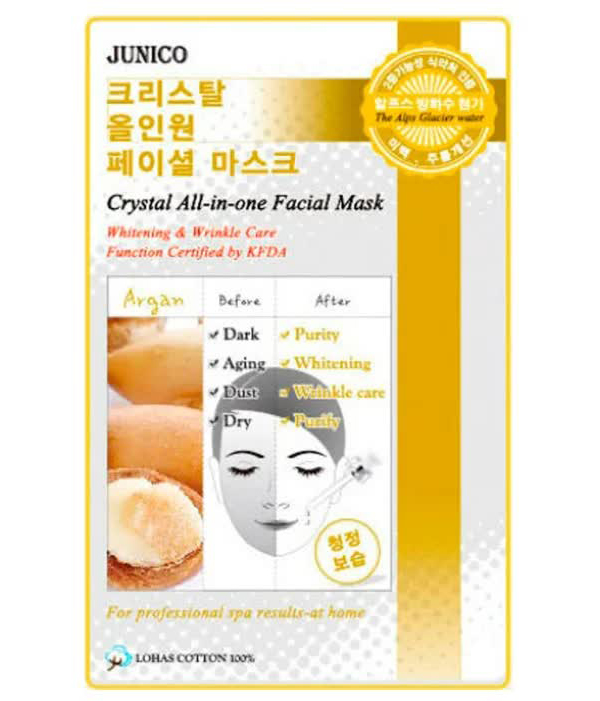 Маска тканевая для лица c аргановым маслом Junico Crystal All-in-one Facial Mask Argan 25гр маска тканевая для лица mijin cosmetics junico crystal all in one facial mask snail 25 г