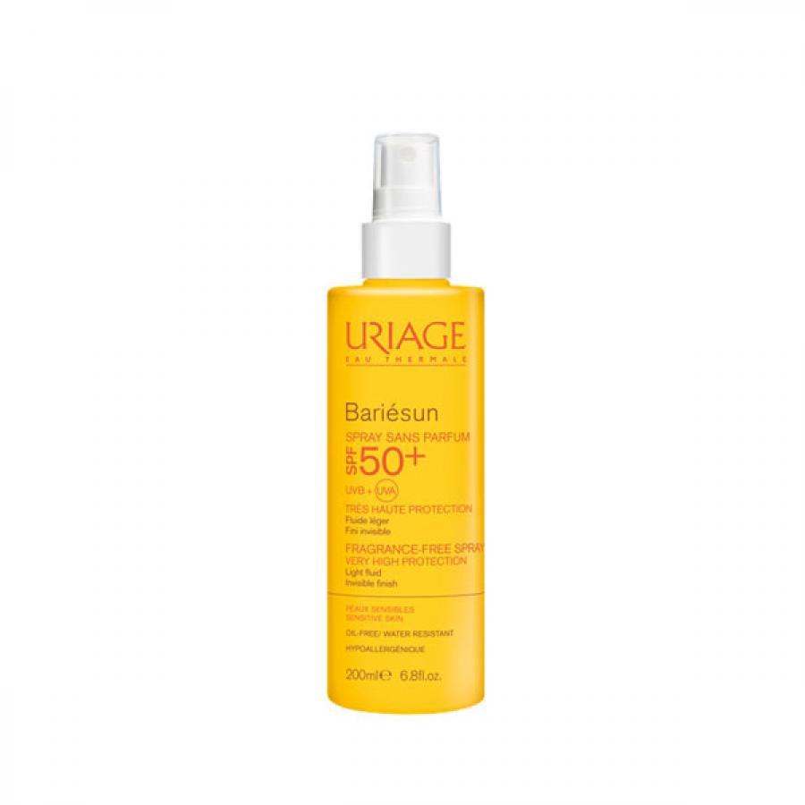 Солнцезащитный спрей SPF50+ Uriage Bariesun Fragrance-Free Spray, 200 мл, без ароматизаторов uriage спрей для детей spf50 барьесан 200 мл