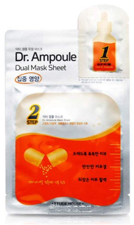 Восстанавливающая двухфазная маска для лица Etude House Dr. Ampoule Dual Mask Sheet Vital Care цена 2017