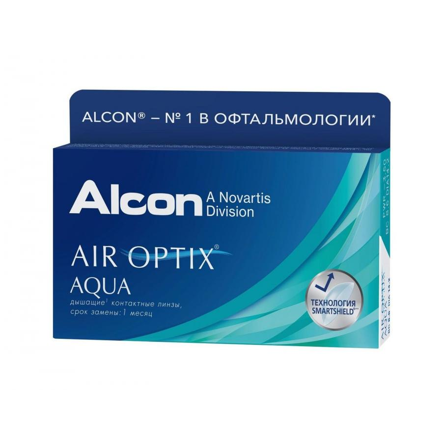 Контактные линзы Alcon Air Optix Aqua, 6 шт, R:8,6 D:+01,00 контактные линзы cooper vision biomedics 55 evolution 6 шт r 8 6 d 6 0