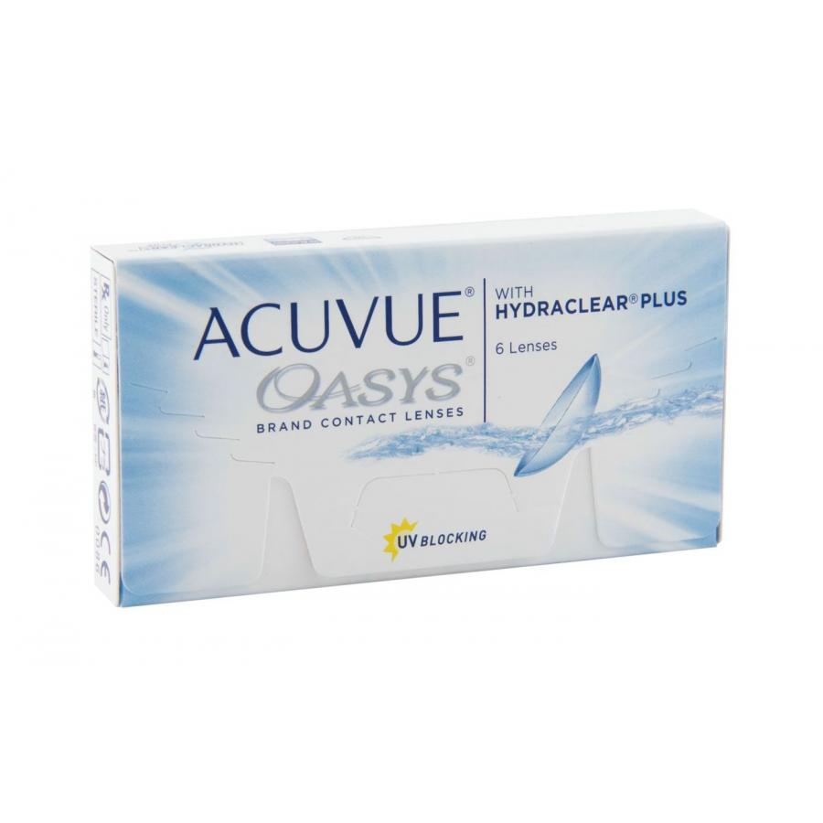 Контактные линзы Acuvue Oasys with Hydraclear Plus, 6 шт, R:8,8 D:-10,00 контактные линзы alcon air optix aqua 6 шт r 8 6 d 06 00