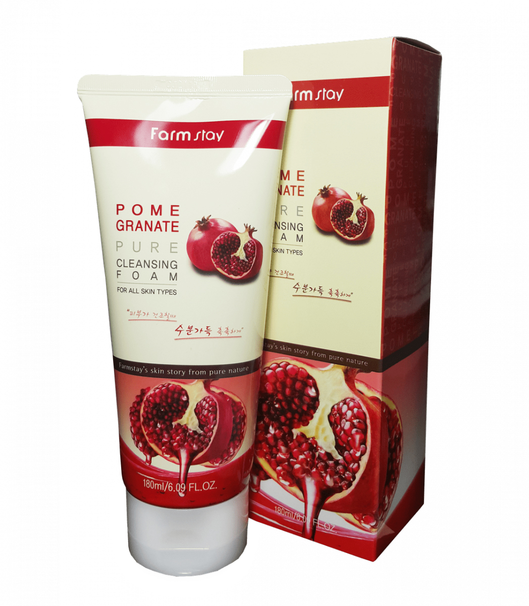Очищающая пенка с экстрактом граната FarmStay Pomegranate Pure Cleansing Foam, 180мл farmstay гель спрей для лица с экстрактом граната farmstay farmstay it s real pomegranate gel mist 120 мл