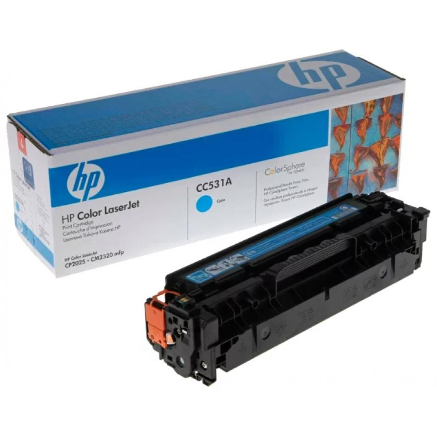 Картридж HP CC531A для HP LJ CP2025/CM2320, голубой тонер картридж hp cc530a black для lj cp2025 cm2320 3 500 стр
