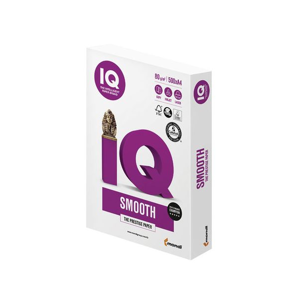Бумага IQ SMOOTH, А4, 80 г/м2, 500 листов, класс А, Австрия, белизна 170% (CIE) - фото 1