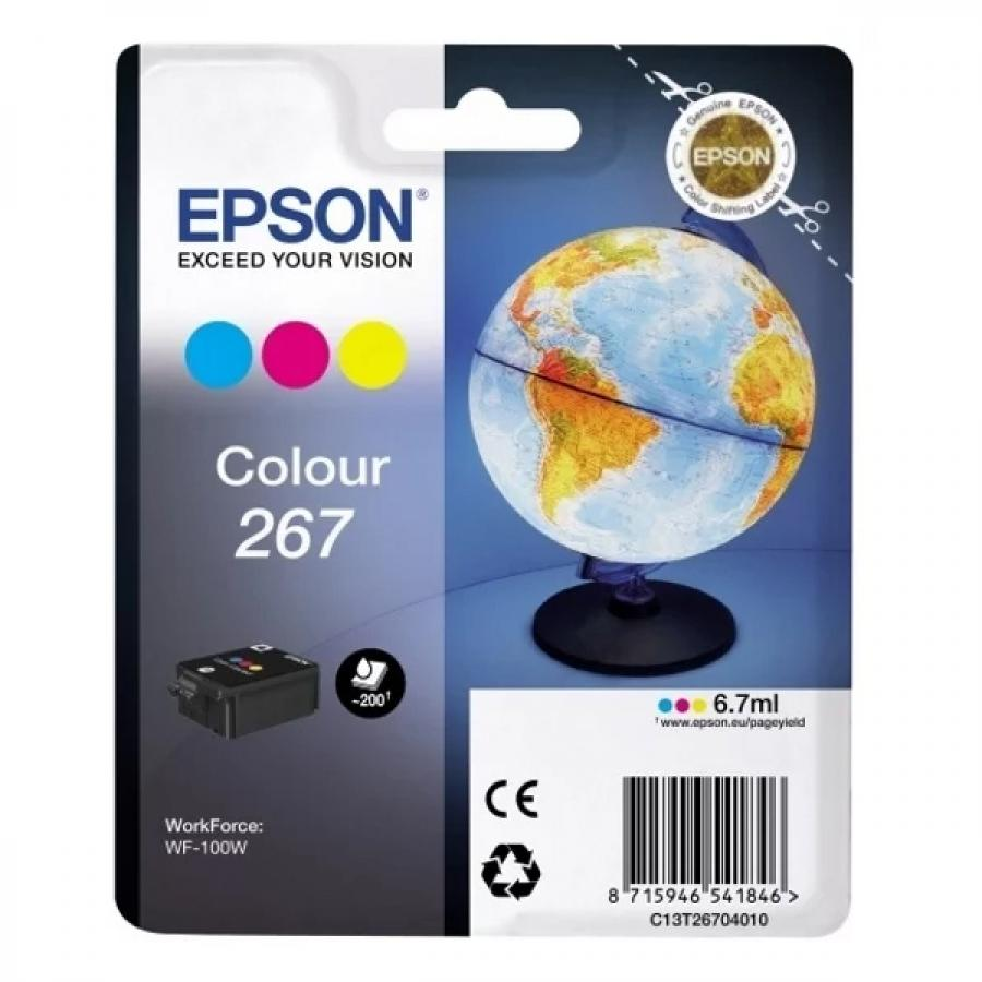 Картридж Epson T267 (C13T26704010) для Epson WF-100W, голубой/пурпурный/желтый original cc03main mainboard main board for epson l455 l550 l551 l555 l558 wf 2520 wf 2530 printer formatter