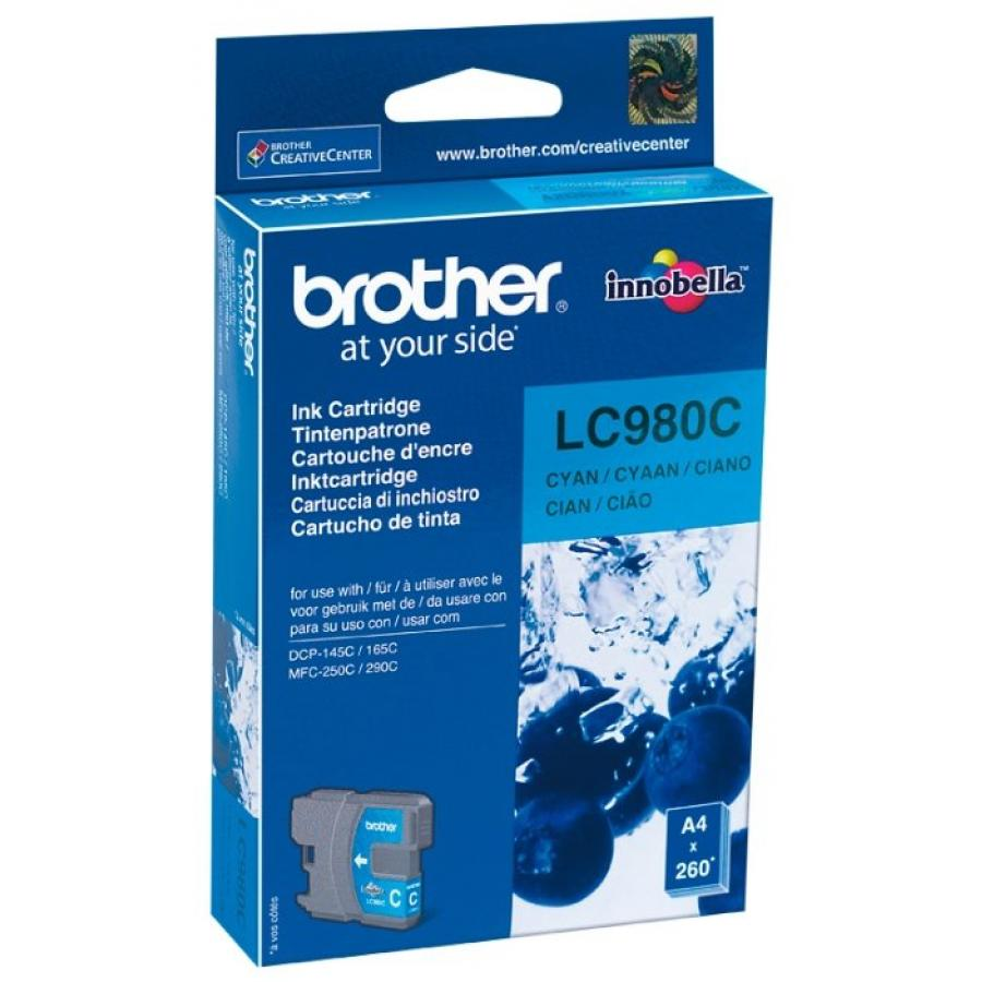 Картридж Brother LC980C для Brother DCP-145C/165C/MFC-250C, голубой картридж brother lc980c голубой