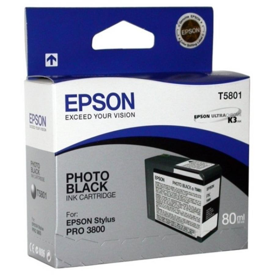 Картридж Epson T5801 (C13T580100) для Epson St Pro 3800, фото черный epson t7014 xl c13t70144010 yellow картридж для workforce pro wp 4000 5000 series