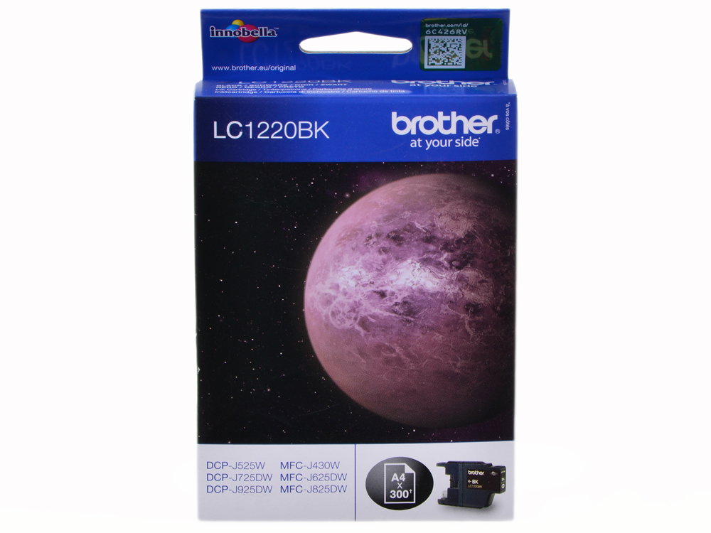 Картридж струйный Brother LC1220BK черный (300стр.) для Brother MFC-J430W/J825DW/DCP-J525W картридж cactus lc 900bk для brother dcp 110 115 120 mfc 210 215 черный 500стр