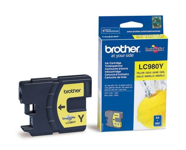 Картридж струйный Brother LC980Y желтый (260стр.) для Brother DCP-145C/165C/MFC-250C картридж cactus lc 900bk для brother dcp 110 115 120 mfc 210 215 черный 500стр