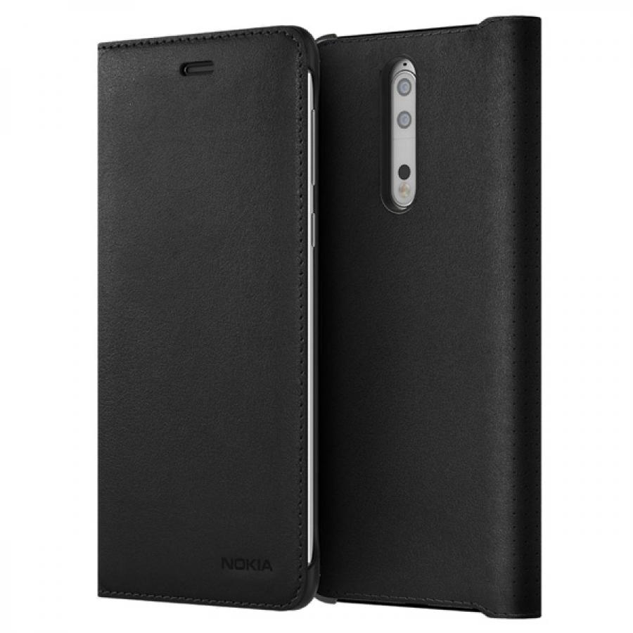 Чехол Nokia 8 Leather Flip Cover Balck аксессуар чехол nokia 8 soft leather flip cover black cp 801 1a21pr500va