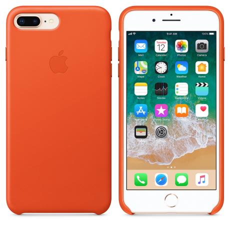 Купить Кожаный чехол Apple Leather Case для iPhone 8 Plus/7 Plus, цвет (Bright Orange) MRGD2ZM/A