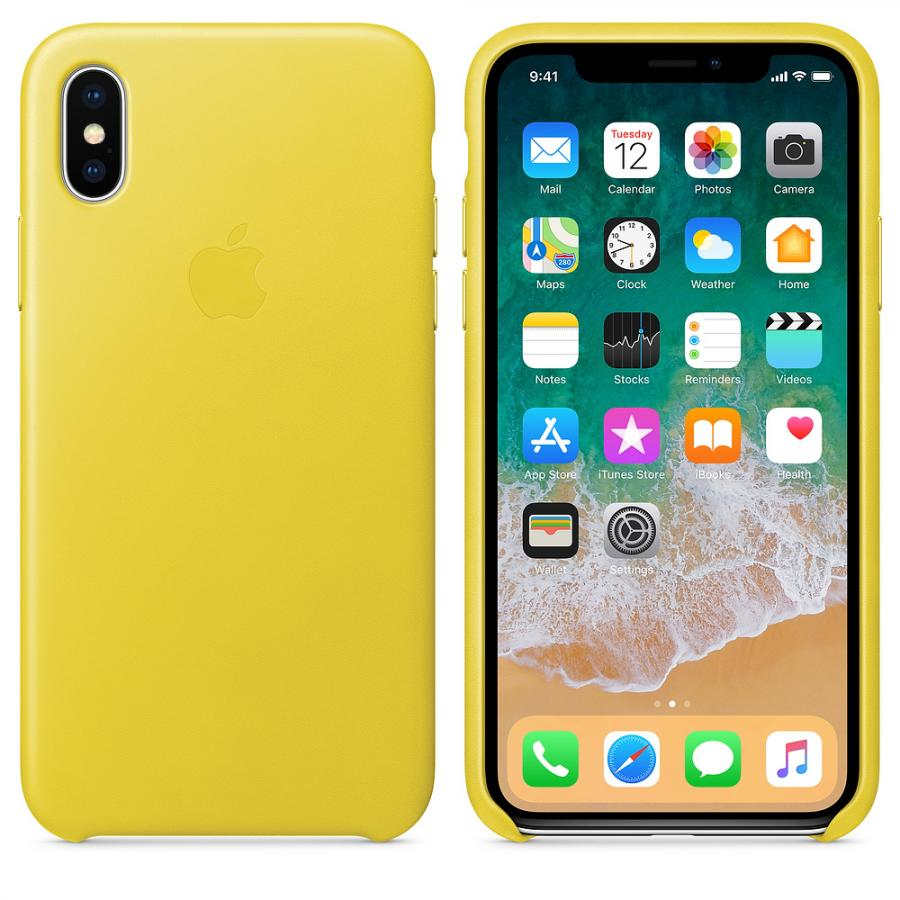 Кожаный чехол Apple Leather Case для iPhone X, цвет (Spring Yellow) MRGJ2ZM/A аксессуар чехол для apple iphone x pitaka aramid case black yellow twill ki8006x