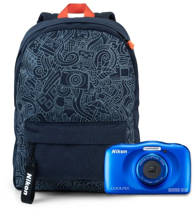 Фото - Цифровой фотоаппарат Nikon Coolpix W150 Blue Backpack Kit фотоаппарат nikon coolpix w150 backpack kit vqa110k001 white 13 2 mp 1 3 1 max 4160 x 3120 3x zoom экран 2 7 0 177 г