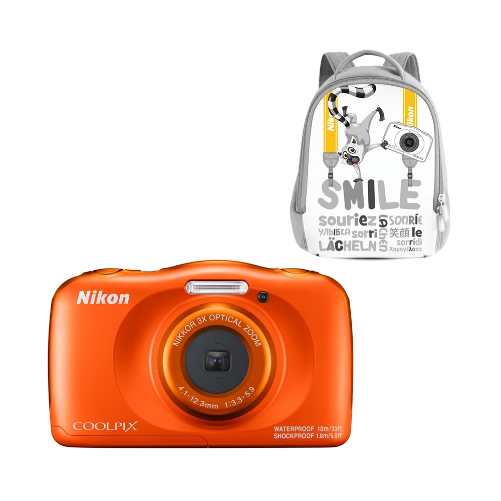 Фото - Цифровой фотоаппарат Nikon Coolpix W150 Orange Backpack Kit фотоаппарат nikon coolpix w150 backpack kit vqa110k001 white 13 2 mp 1 3 1 max 4160 x 3120 3x zoom экран 2 7 0 177 г