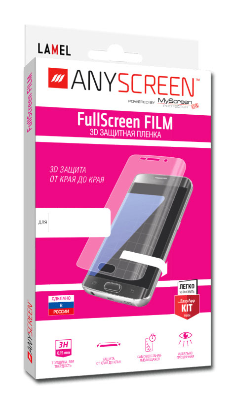 Защитная пленка FullScreen FILM 3D для Samsung Galaxy S7 Edge ANYSCREEN пленка защитная lamel 3d защитная пленка fullscreen film для samsung galaxy watch 42mm full screen anyscreen