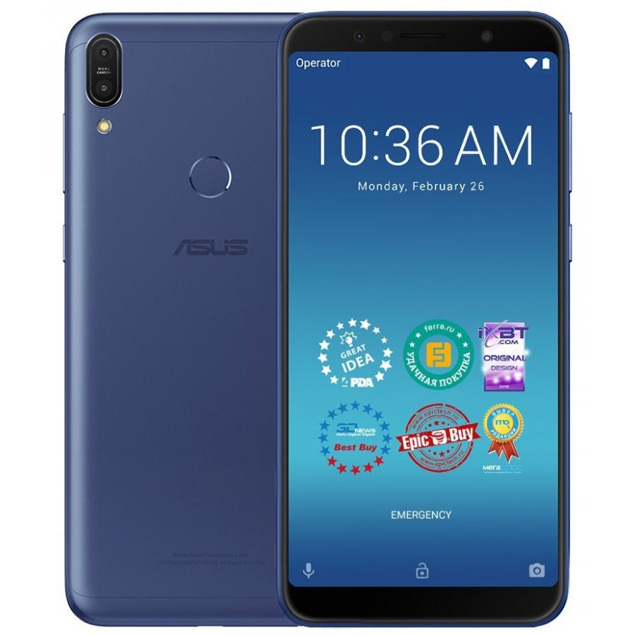 Смартфон Asus ZenFone Max Pro ZB602KL 4/64Gb Blue смартфон asus zenfone 5 ze620kl 4 64gb midnight blue