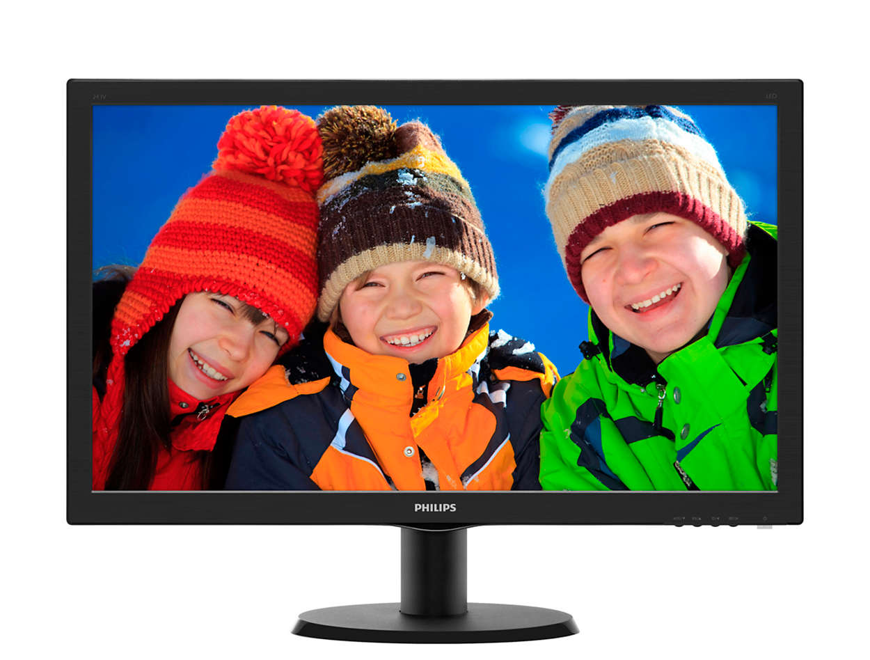 Монитор Philips LCD 23.6'' Black 243V5LSB (10/62) монитор philips 243v5lsb 10 62