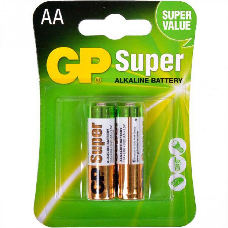 Батарейка AA GP Super Alkaline 15A LR6 (2шт) ag8 lr55 1 55v alkaline cell button batteries 10 piece pack