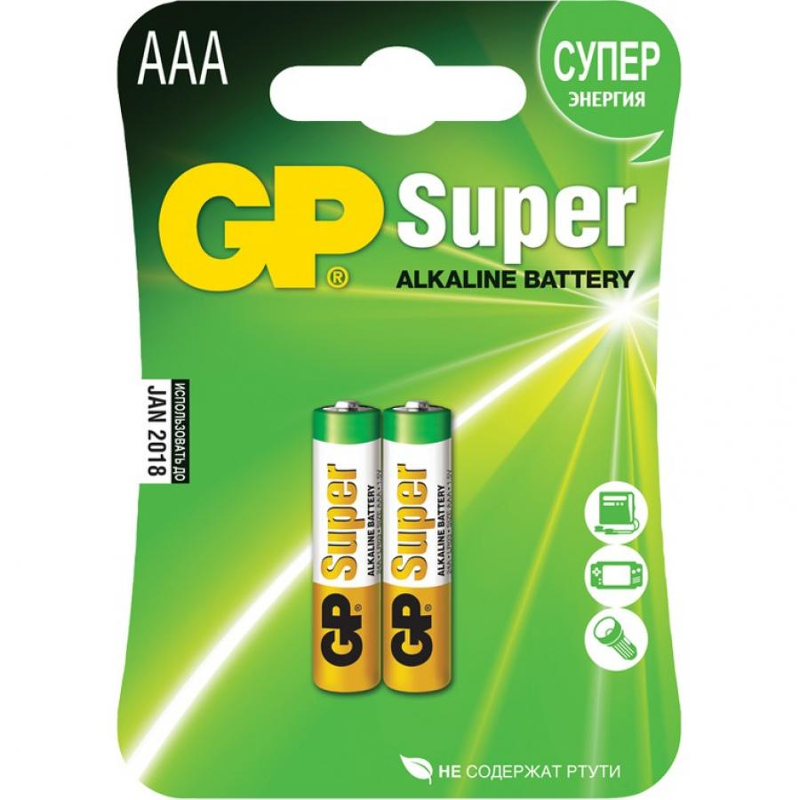 Батарейка AAA GP Super Alkaline 24A LR03 (2шт) ag8 lr55 1 55v alkaline cell button batteries 10 piece pack