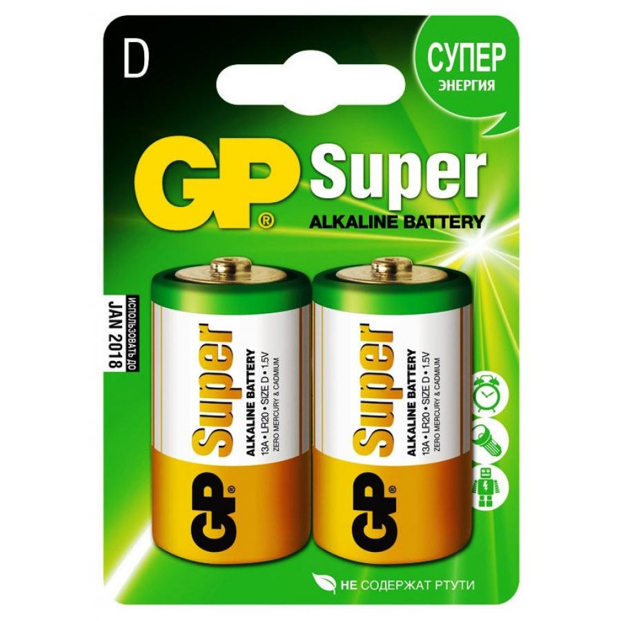 Батарейка D GP Super Alkaline 13A LR20 (2шт) ag8 lr55 1 55v alkaline cell button batteries 10 piece pack