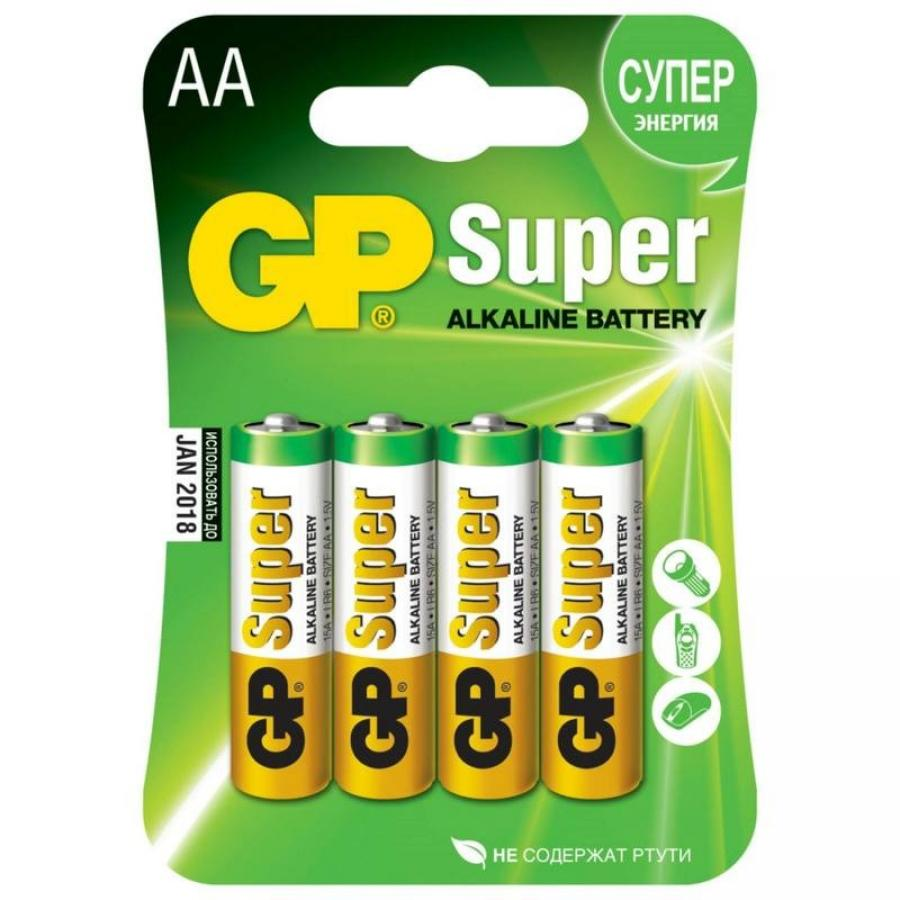 Батарейка AA GP Super Alkaline 15A LR6 (4шт) ag8 lr55 1 55v alkaline cell button batteries 10 piece pack