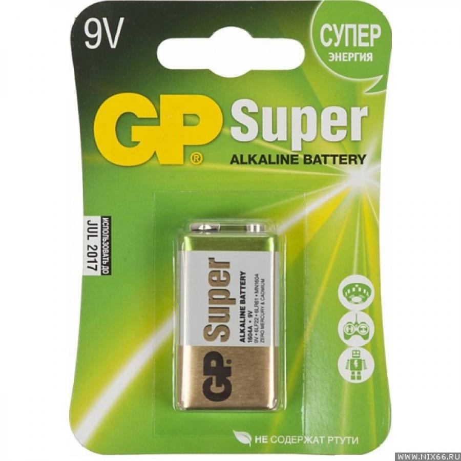 Батарейка Крона GP Super Alkaline 1604A 6LR61 9V 550mAh (1шт) батарейка алкалиновая gp batteries super alkaline тип крона 9v