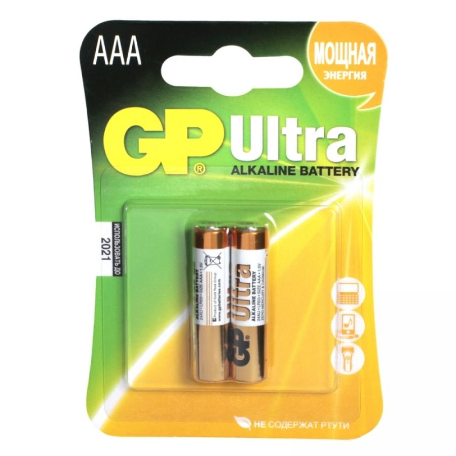 Батарейка AAA GP Ultra Alkaline 24AU LR03 (2шт) ag8 lr55 1 55v alkaline cell button batteries 10 piece pack